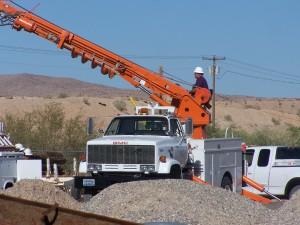Lineman Working in Truck
