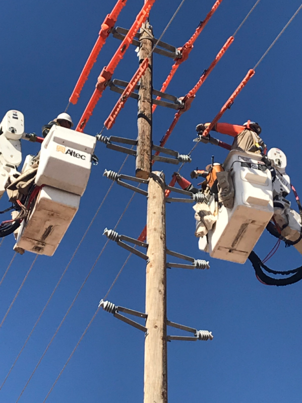 lineworkers working with power lines